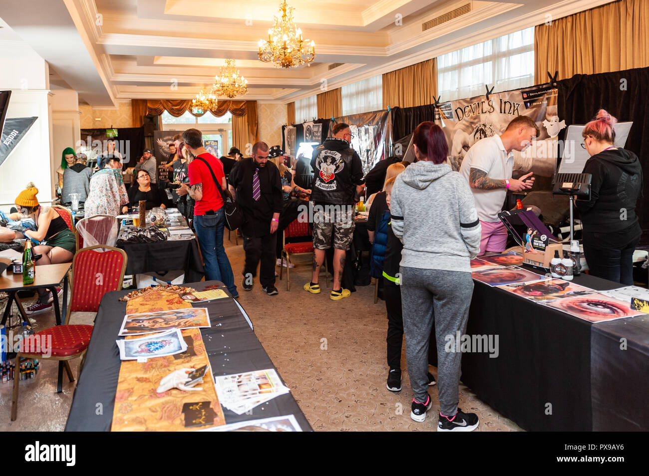 Skibbereen, West Cork, Ireland. 20th Oct, 2018. There was a big attendance at the show. The show has been attended by many tattooists from across Ireland and the North. The event finishes tomorrow. Credit: Andy Gibson/Alamy Live News. Stock Photo