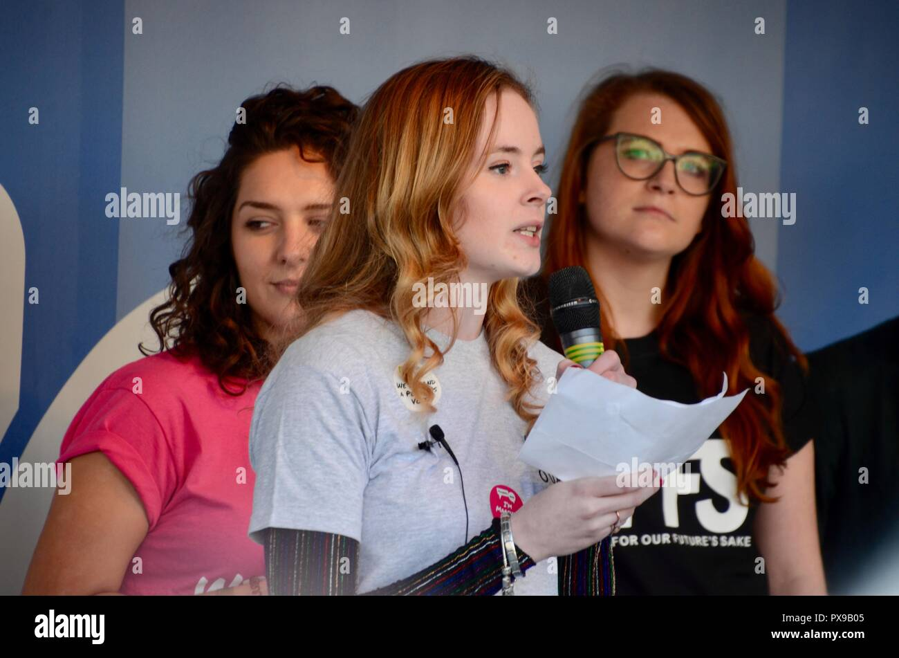 London, UK. 20th Oct, 2018. young northern irish woman addresses the peoples vote crowd london october 20th 2018 Credit: simon leigh/Alamy Live News Stock Photo