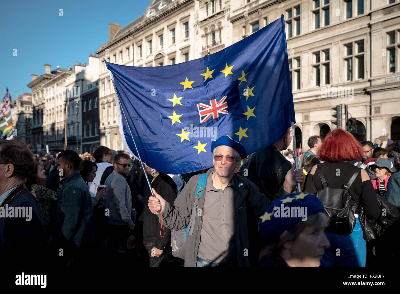 London, UK. 20th October, 2018. People's Vote March. Hundreds of thousands take part in the People's Vote March for the Future to demand a vote on the final Brexit deal. Credit: Guy Corbishley / Alamy Live News - Stock Image