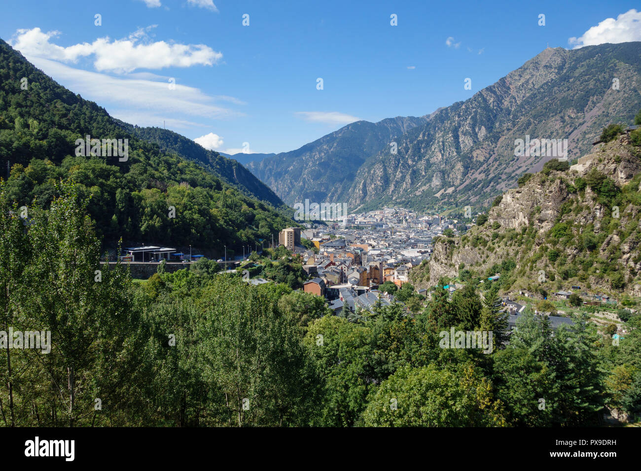 Andorra la Vella city, in a valley in the middle of Pyrenees - Stock Image