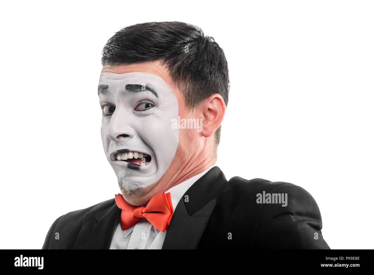 Mime actor shows squeamishness - Stock Image