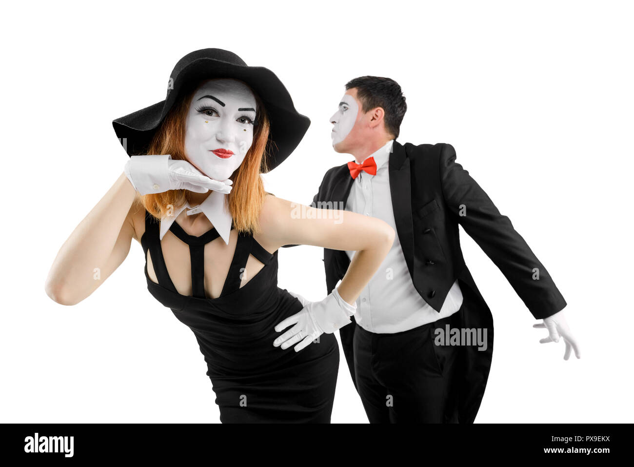 Mime actors duo on white - Stock Image