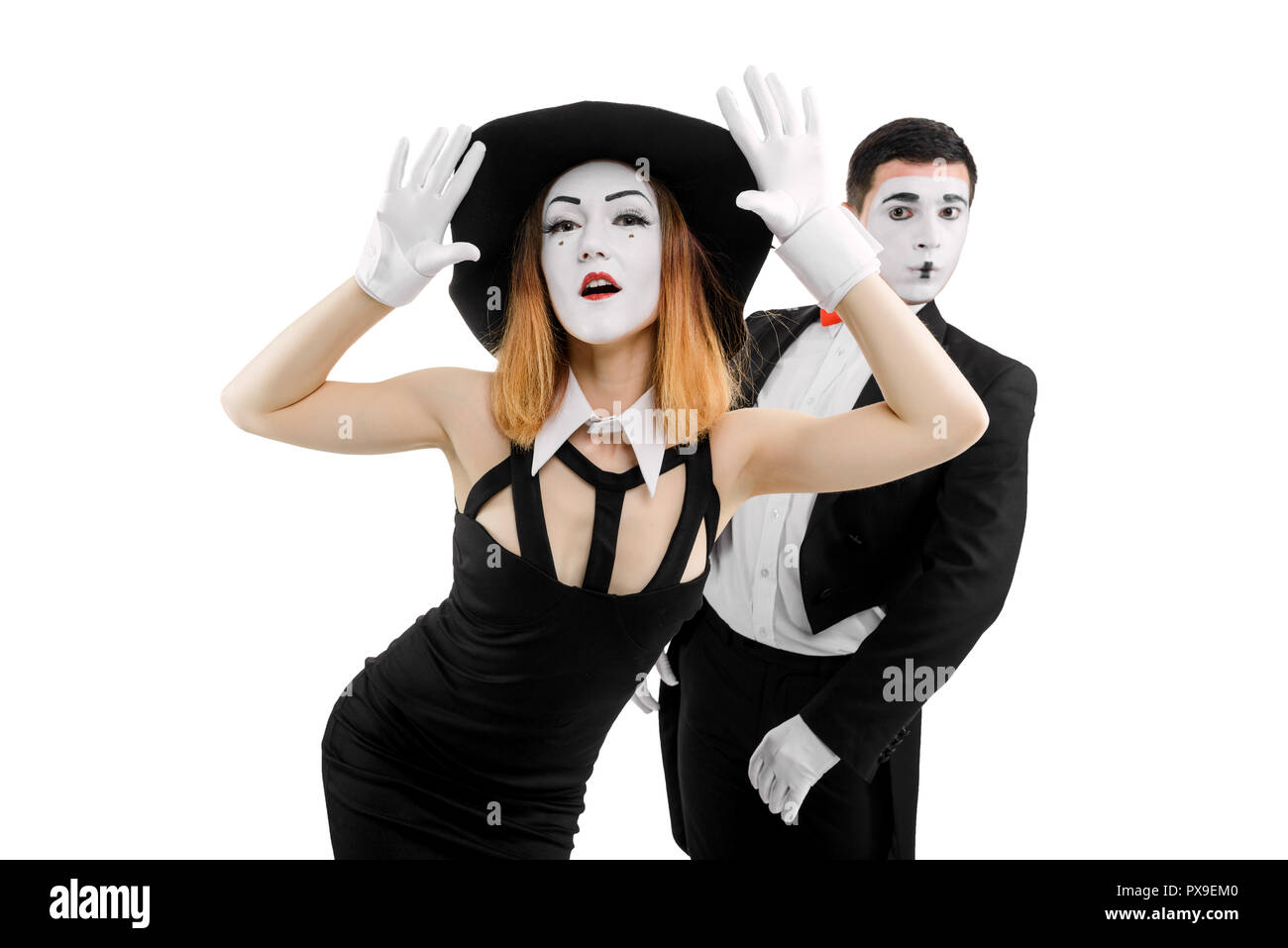 Duo of mime artists - Stock Image