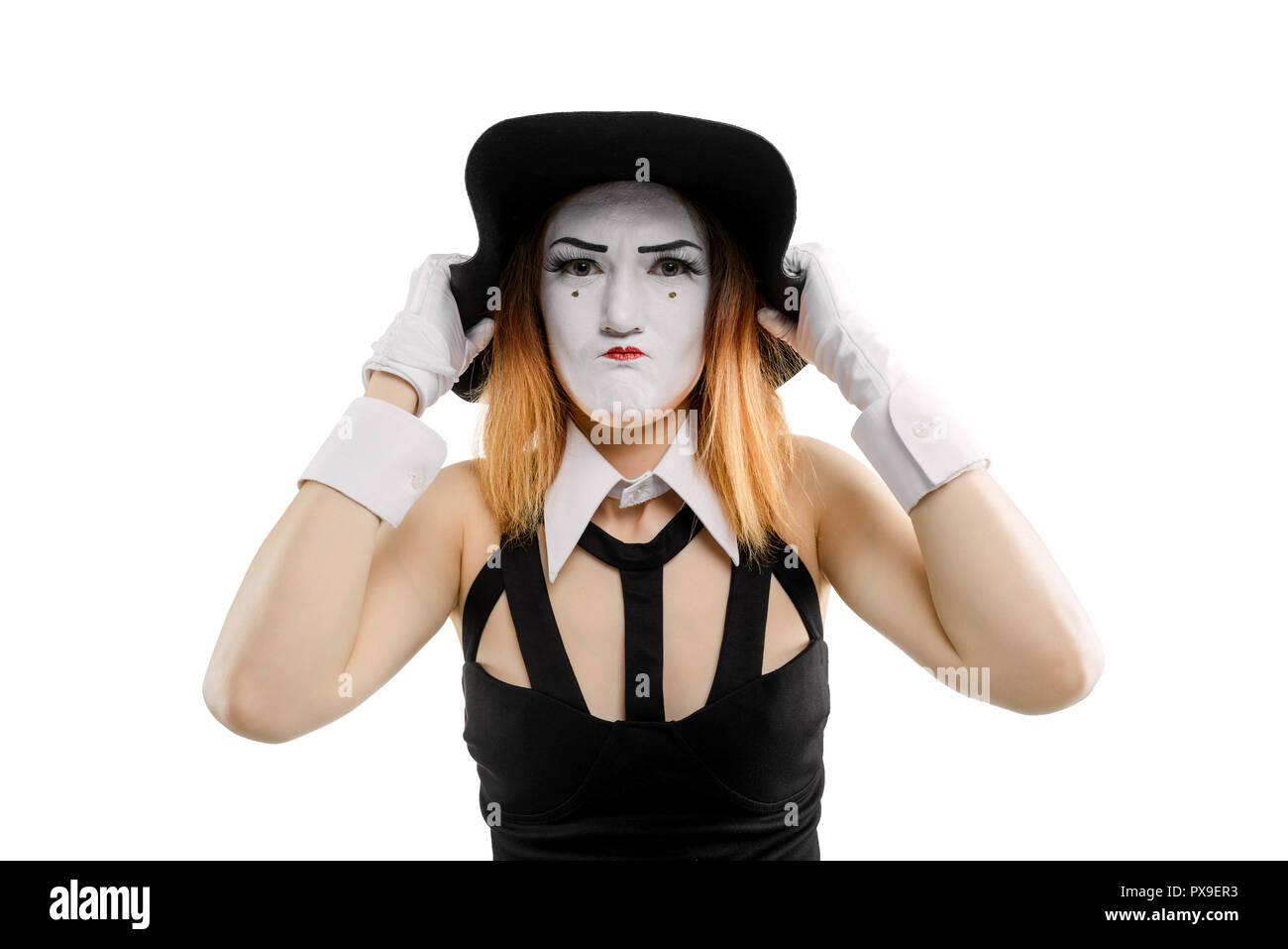 Female mime as grumpy woman - Stock Image