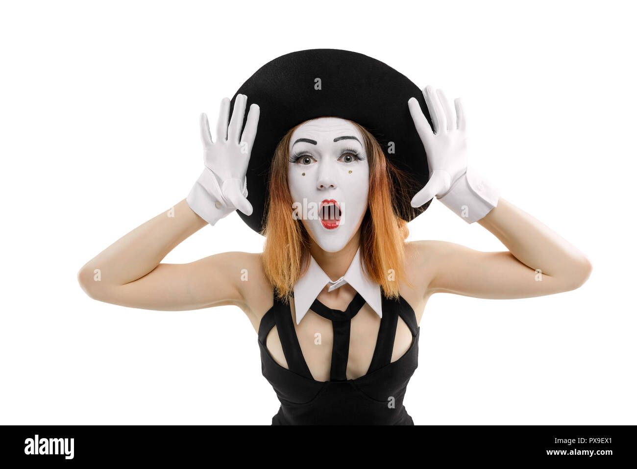 Female mime on white. - Stock Image