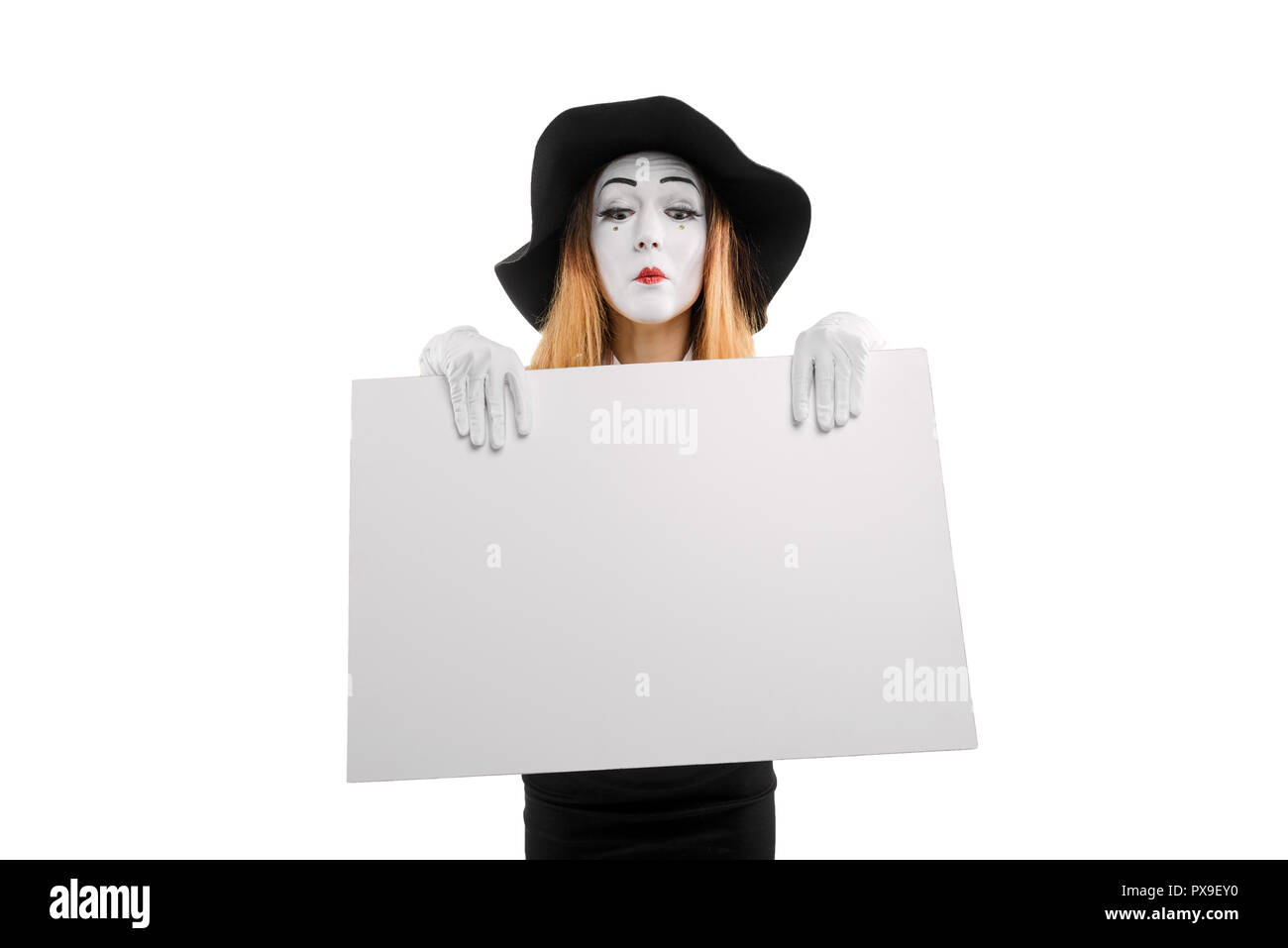Mime actress with empty board - Stock Image