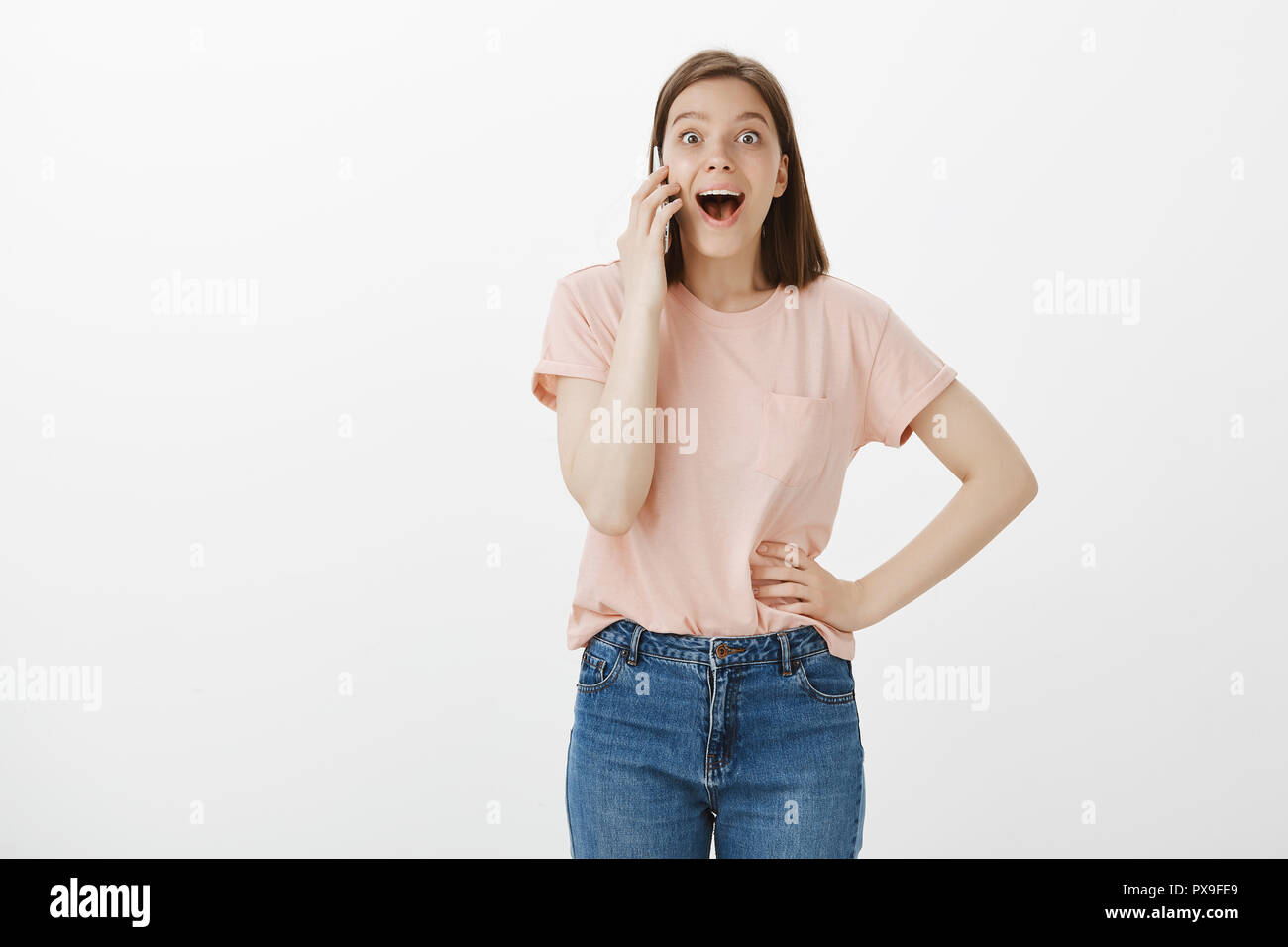 Phone call on girl Strip search