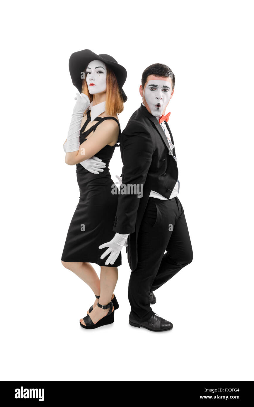 Duo of mime actors - Stock Image