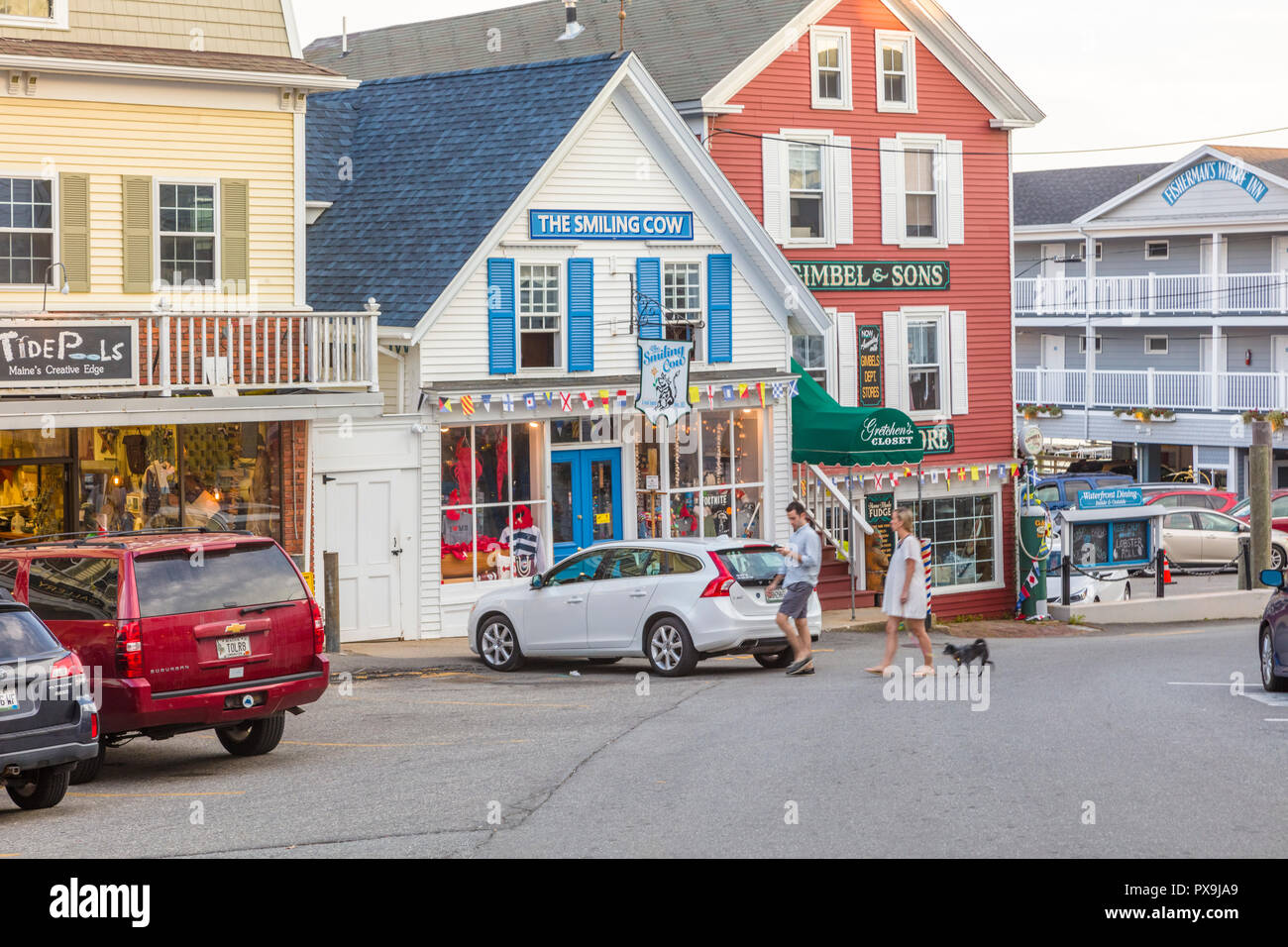Downtown Business Center Of Boothbay Harbor Maine In The United States Stock Photo Alamy