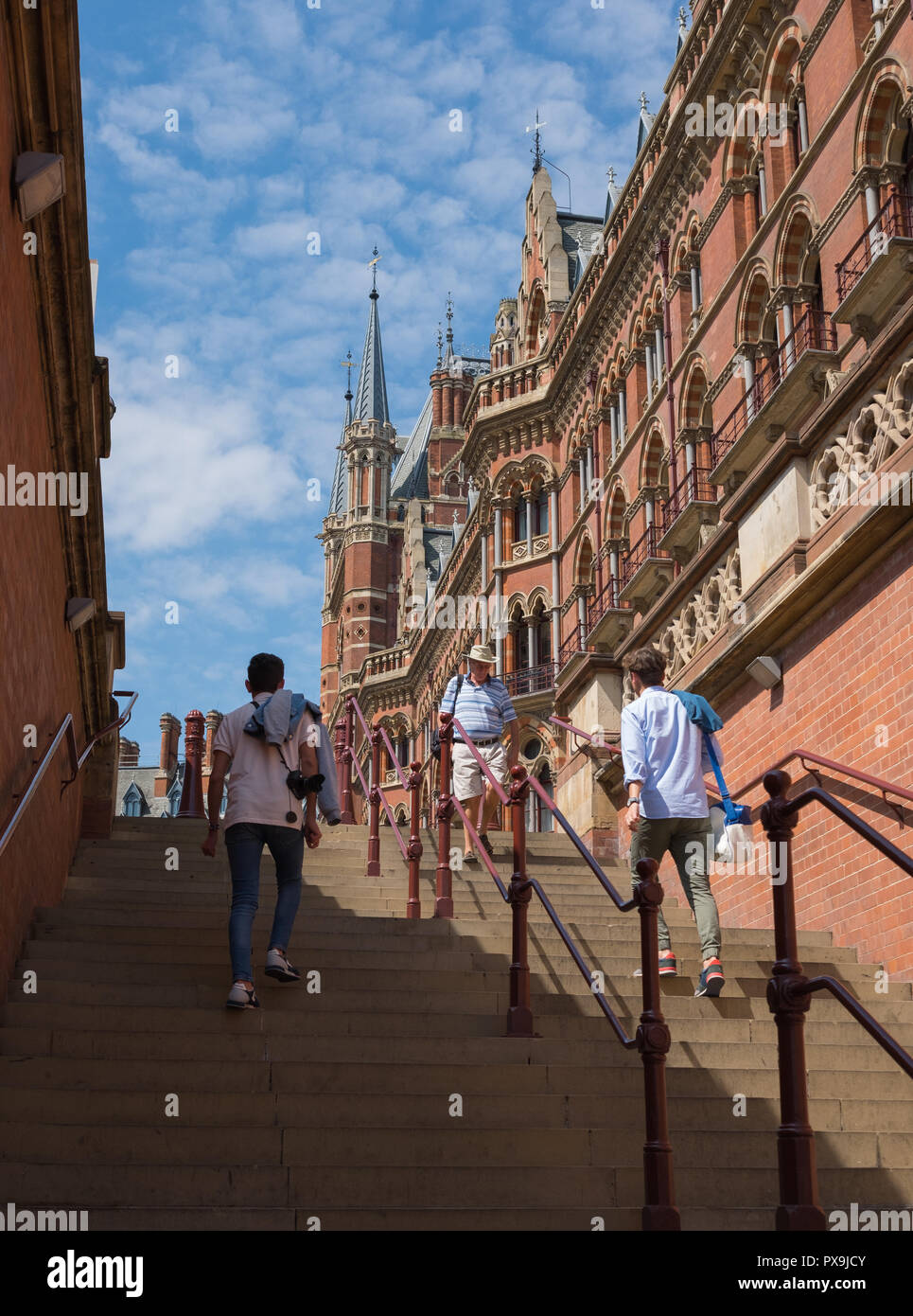 Steps leading up to St Pancras railway station from Pancras Road, London - Stock Photo