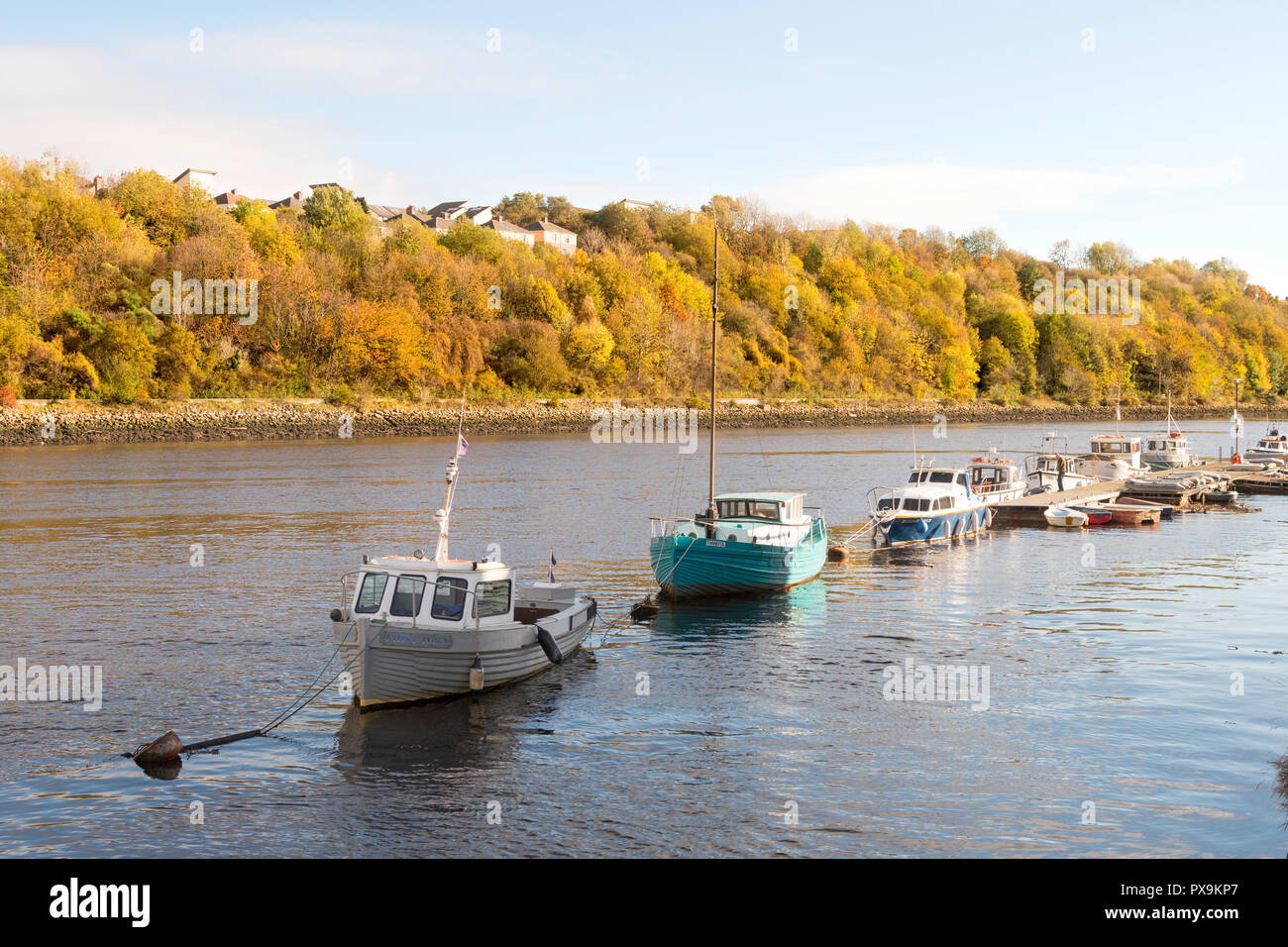 Boats moored in the river Tyne at Friars Goose Water Sports Club, in Gateshead, England, UK - Stock Image