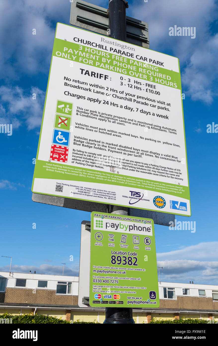 Car park tariff and charges sign in a British car park in Churchill Parade, Rustington, West Sussex, England, UK. - Stock Image