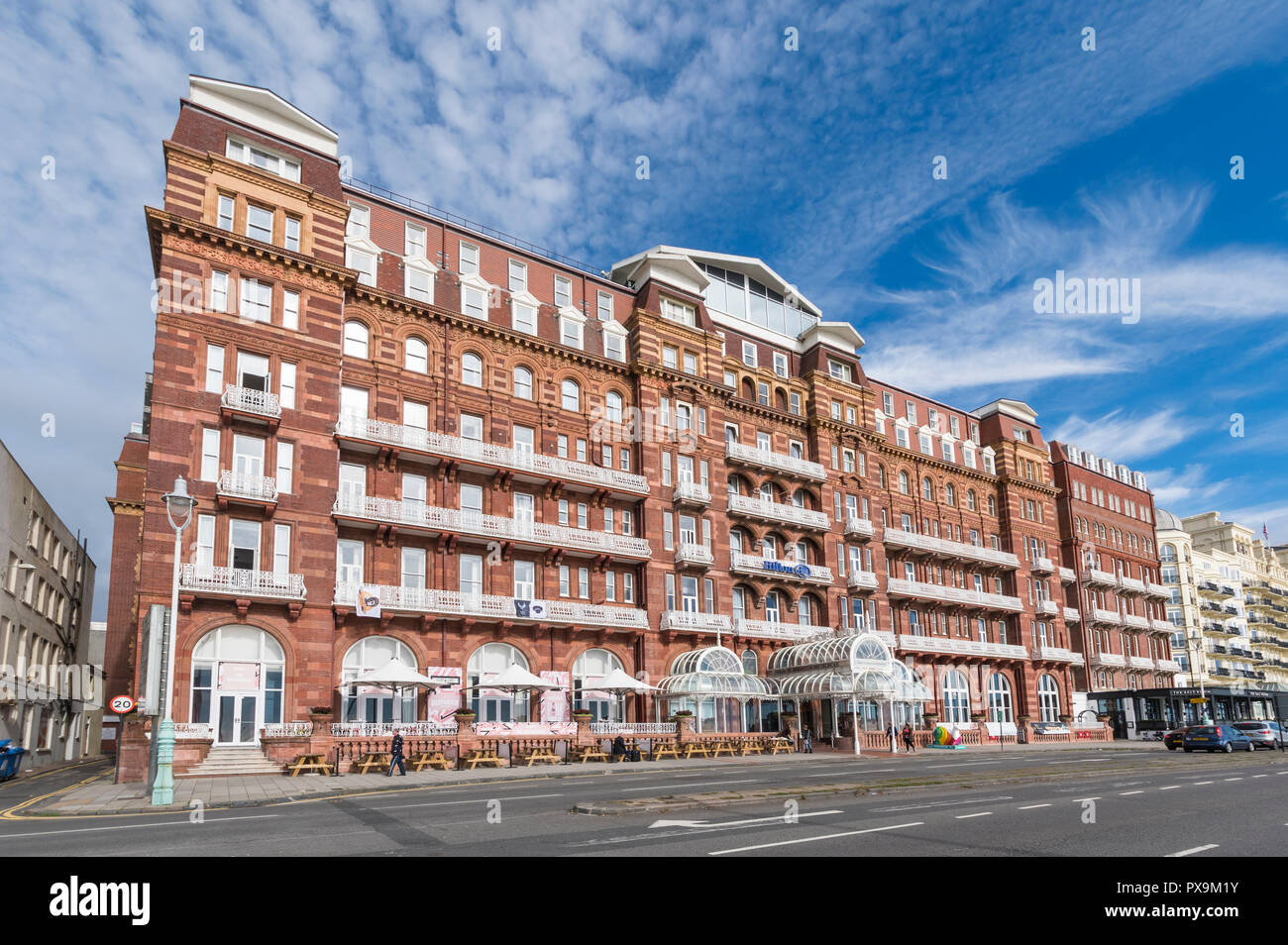 Hilton Brighton Metropole Hotel, a very large seaside hotel on Kings Road in Brighton, East Sussex, England, UK. - Stock Image