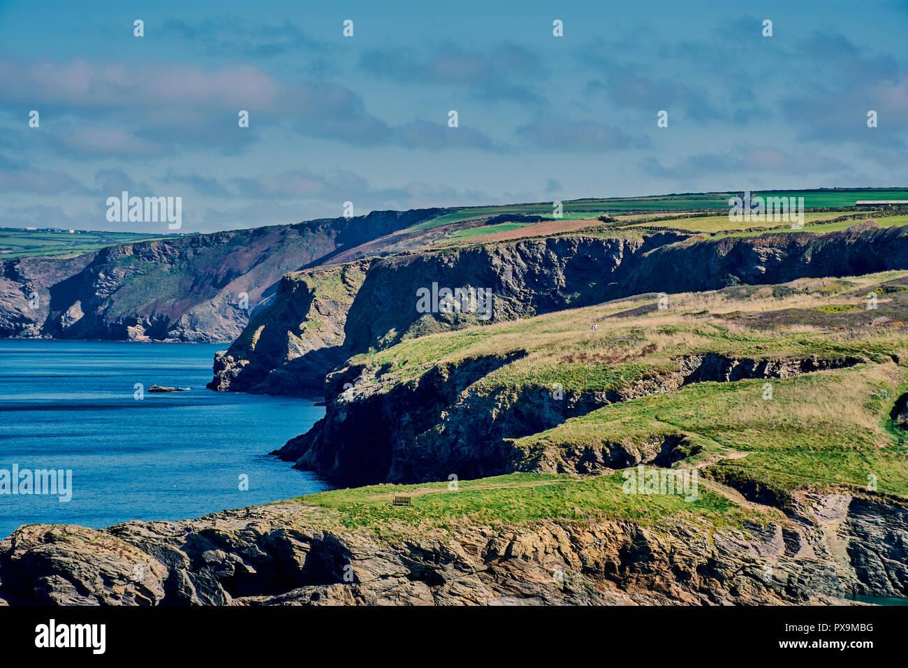 beautiful Cornish coast landscape on the way to Port Isaac, North Cornwall, England - Stock Image