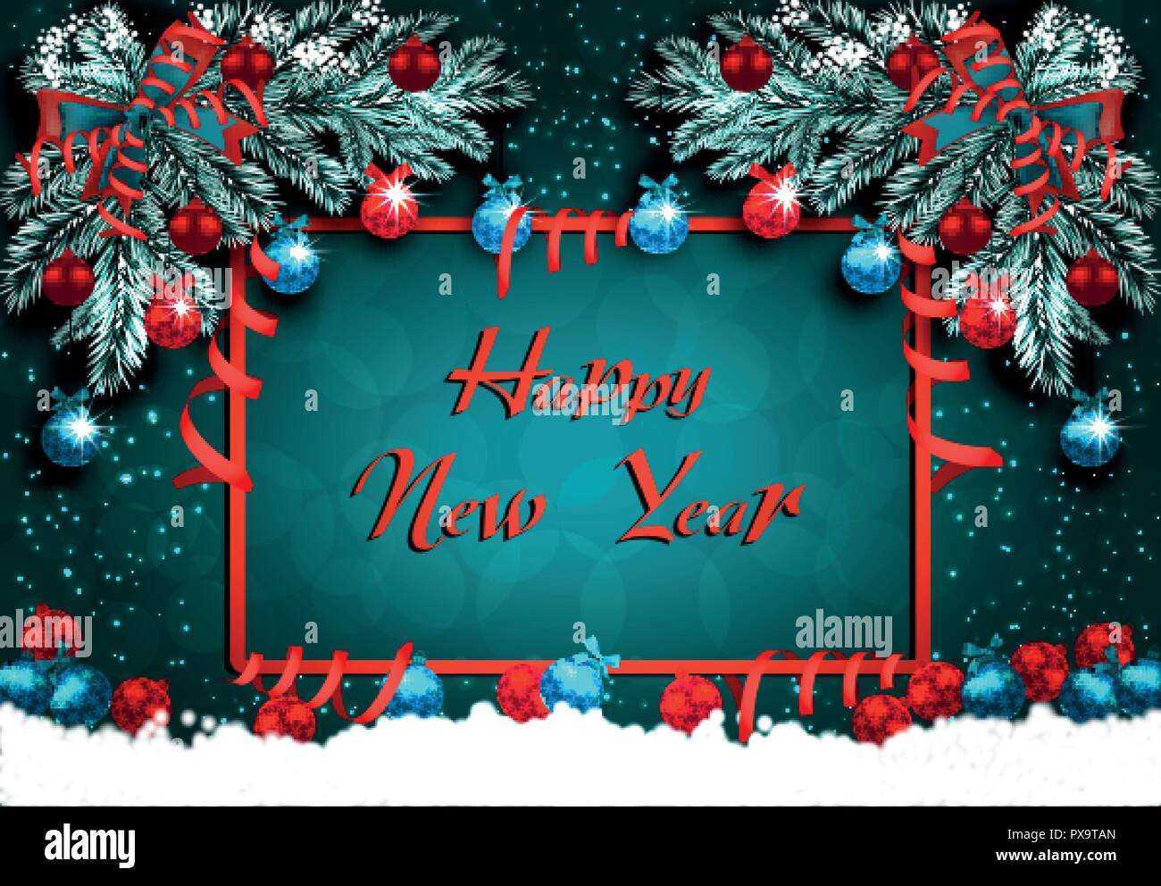 Happy New Year Greeting Card With Decorations On The Green