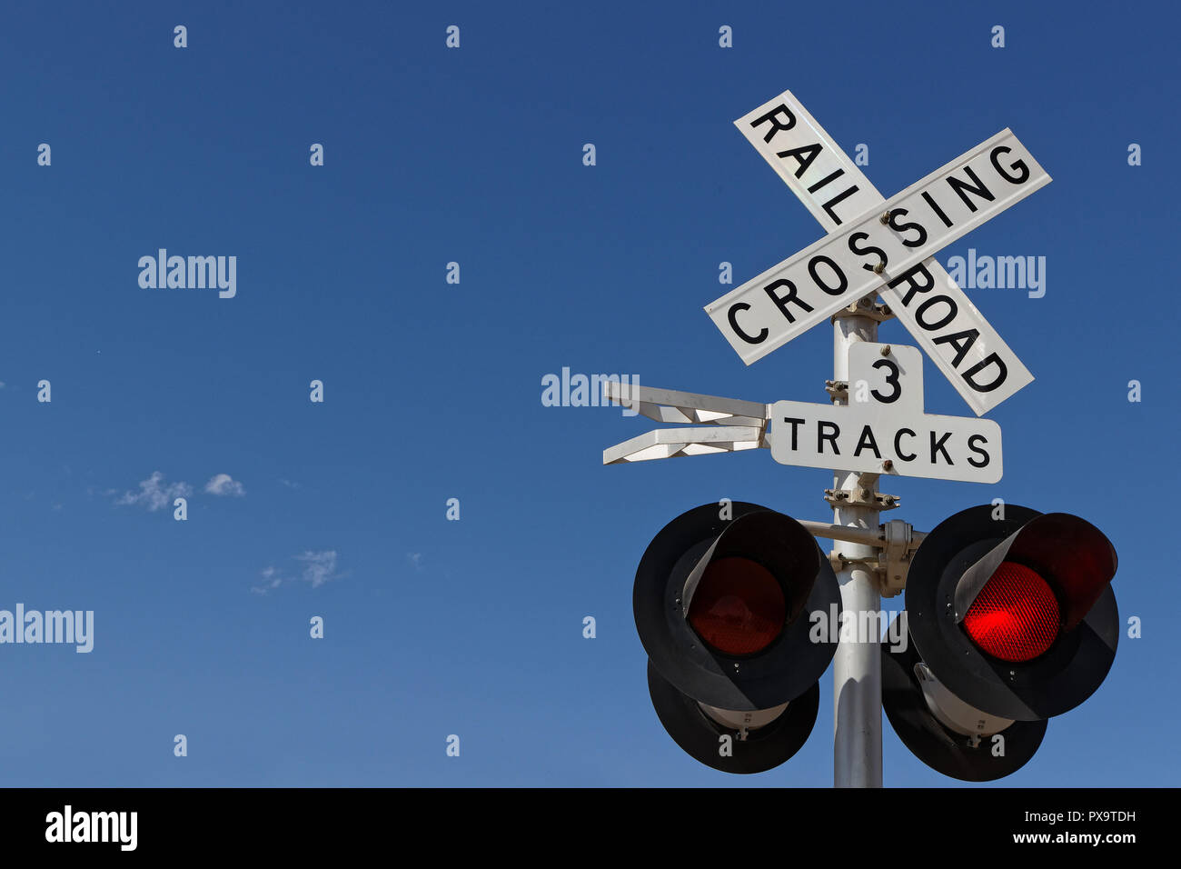 Railway crossing signalization - Stock Image