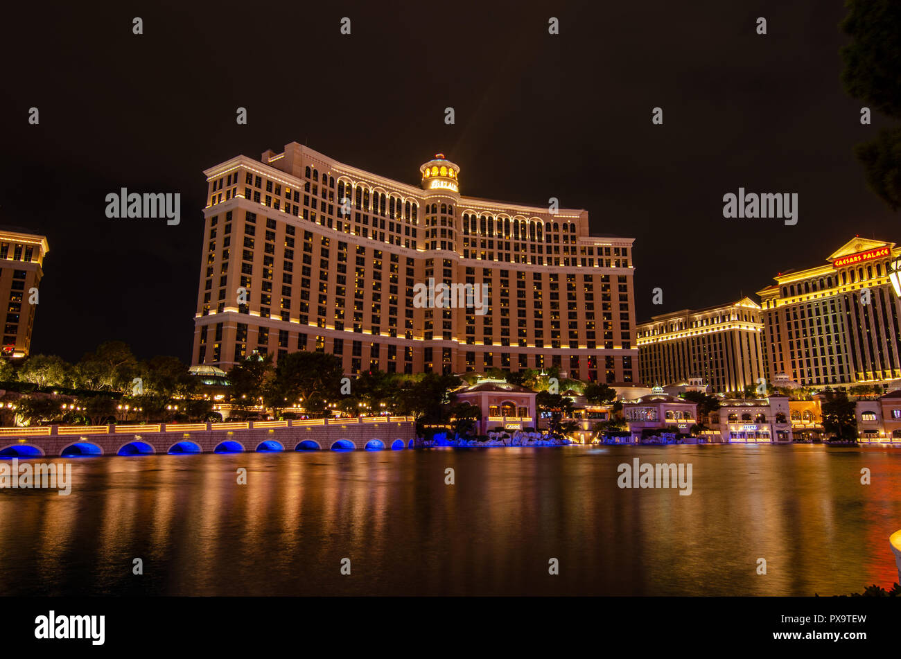 Long exposure of the Bellagio Hotel at night Stock Photo