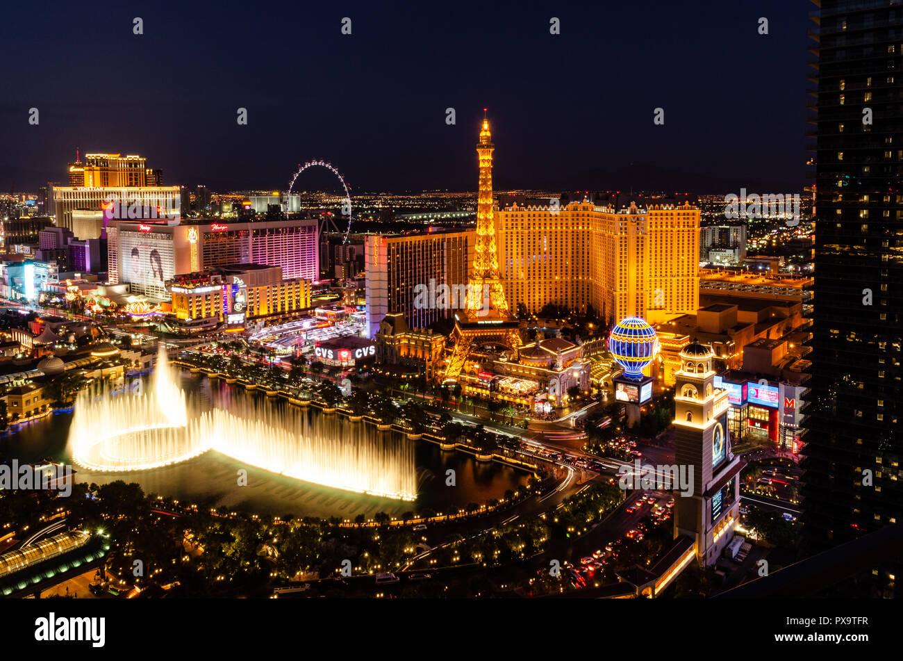 Long Exposure of the Bellagio Fountains and Las Vegas Strip at night Stock Photo