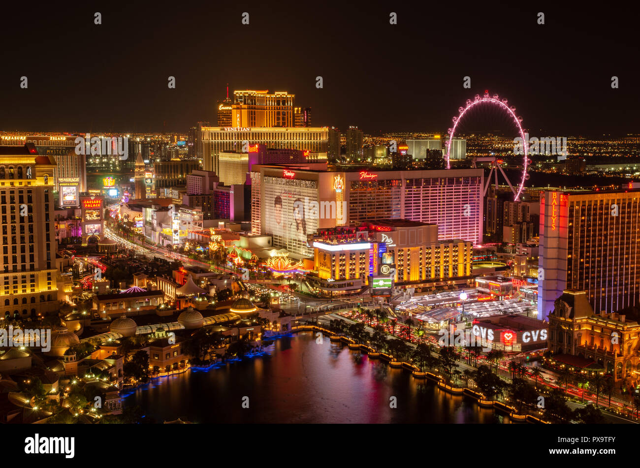 Long exposure of Las Vegas Boulevard in Las Vegas at night Stock Photo