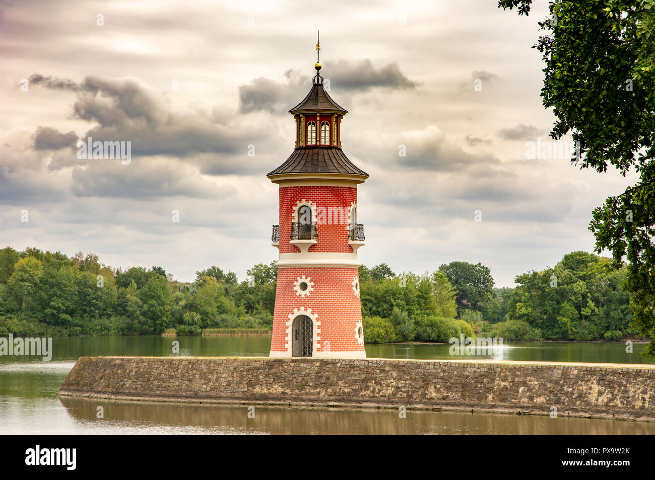 MORITZBURG, GERMANY - AUGUST 21: Lighthouse in the public park of the castle of  Moritzburg, Germnay on August 21, 2018. Stock Photo
