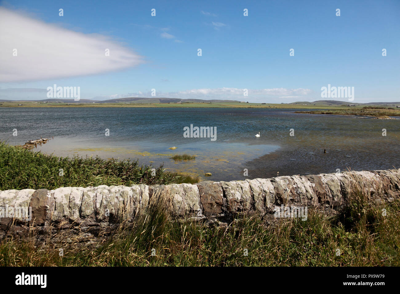 The Loch of Harray, the largest loch of mainland Orkney seen from the Bridge of Brodgar - Stock Image