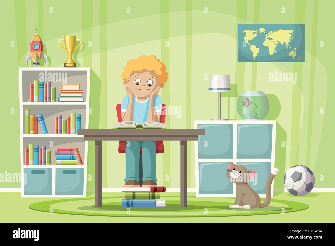 A boy is sitting at the table and reading a book - Stock Vector