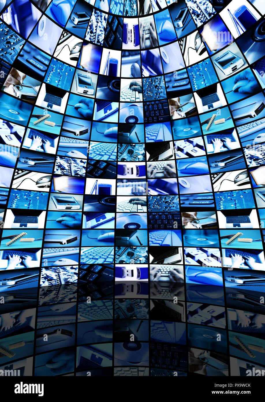 room with many screens with technology images - Stock Image