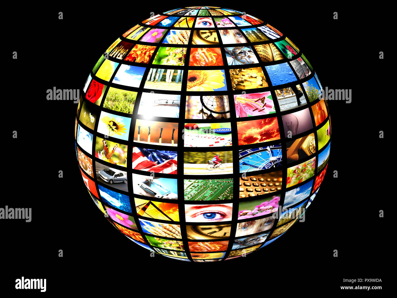 sphere with many screens, digital television and internet broadcasting - Stock Image