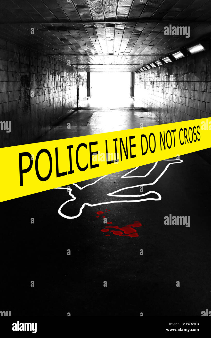 underpass with a police tape and chalk outline of a human body on the pavement - Stock Image