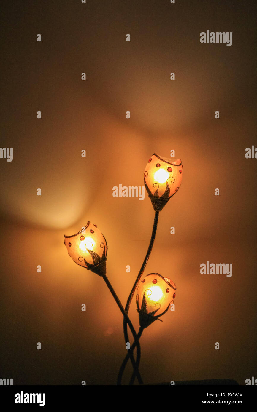 makro of three light lamp with blurred background switzerland - Stock Image