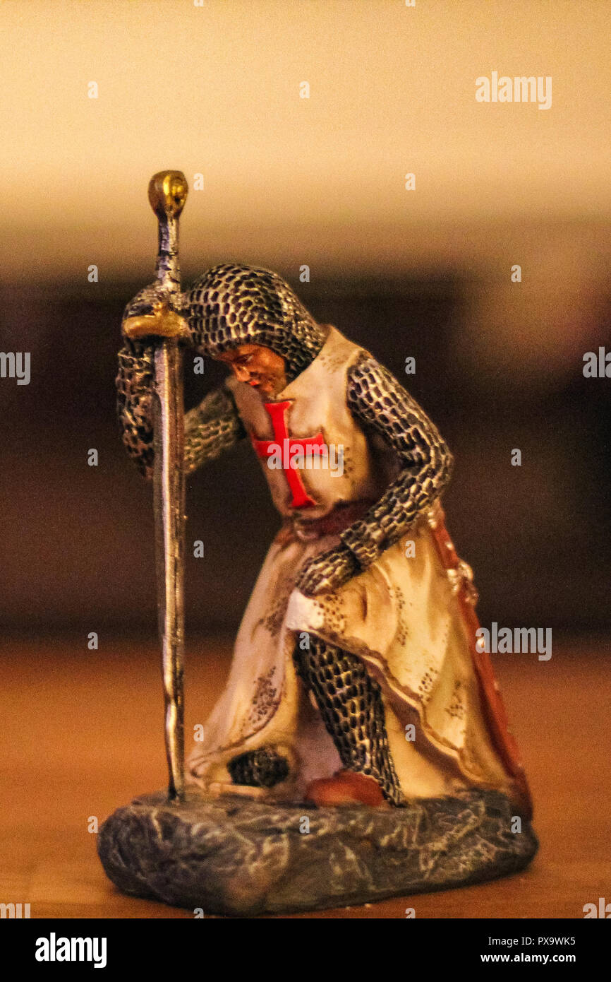 makro of a small knight figure with blurred background switzerland - Stock Image