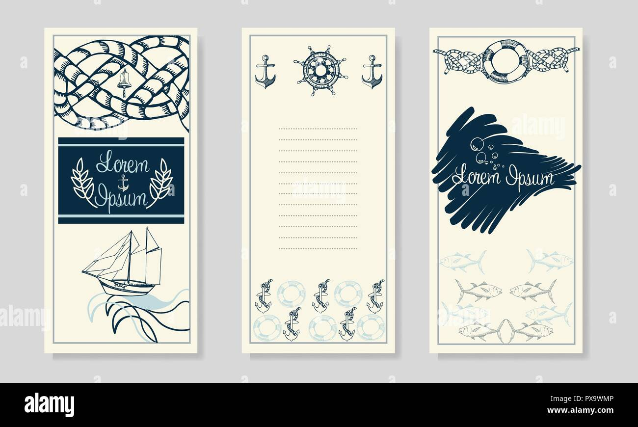 Nautical booklet design. Summer Sea Shells Banner Design. Hand Drawn Etching Style. Place for Your Text. Marine Flayer Template. - Stock Vector