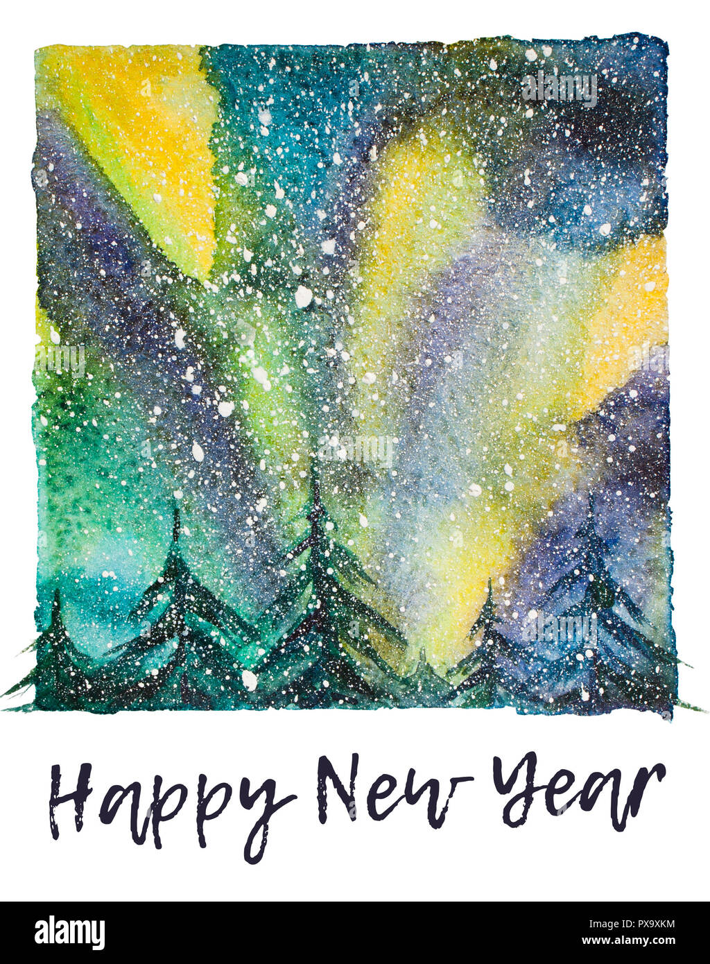 Watercolor northern lights illustration with artistic brushy happy new year lettering below like in momentary photo - Stock Image