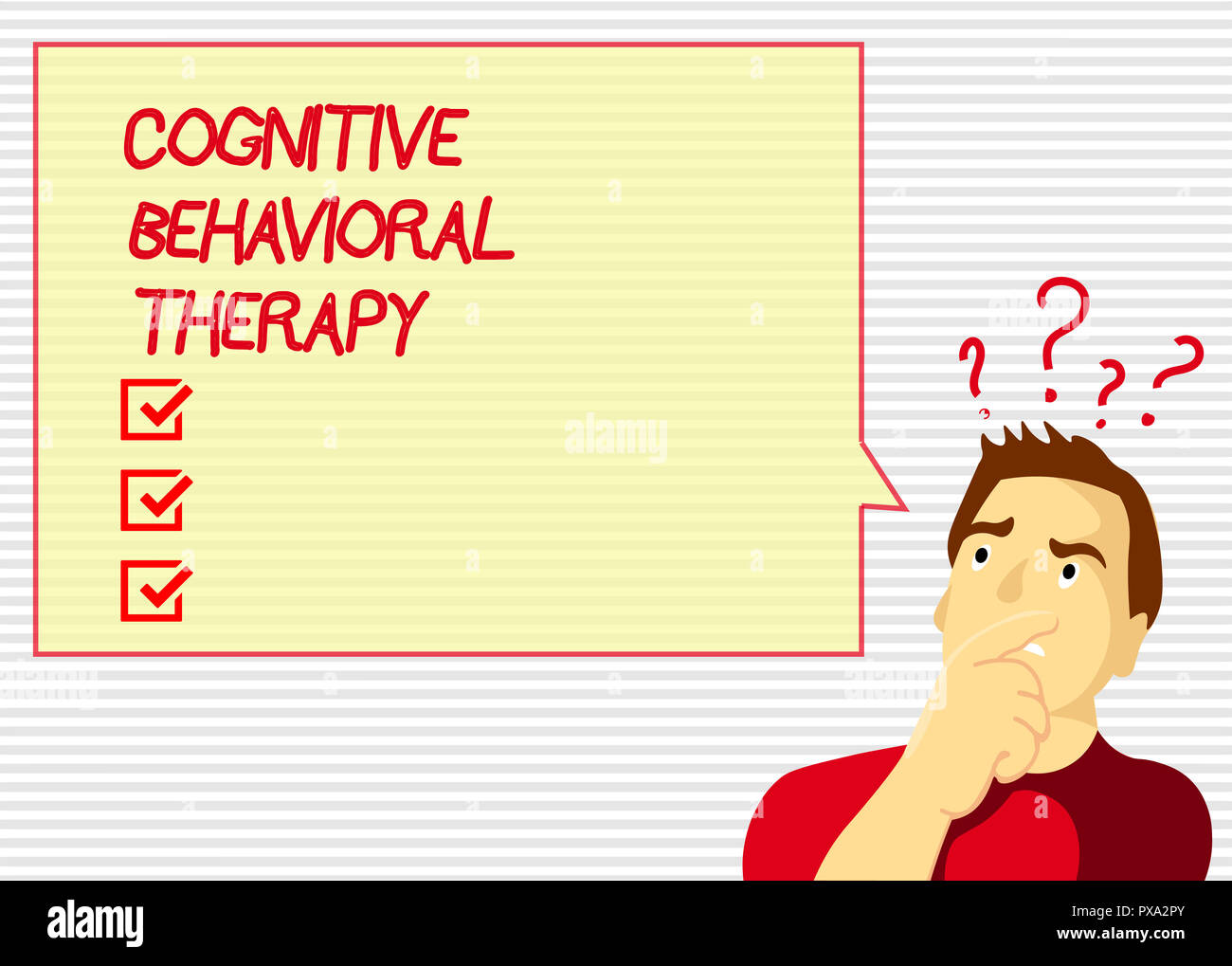 Handwriting text Cognitive Behavioral Therapy. Concept meaning Psychological treatment for mental disorders. - Stock Image