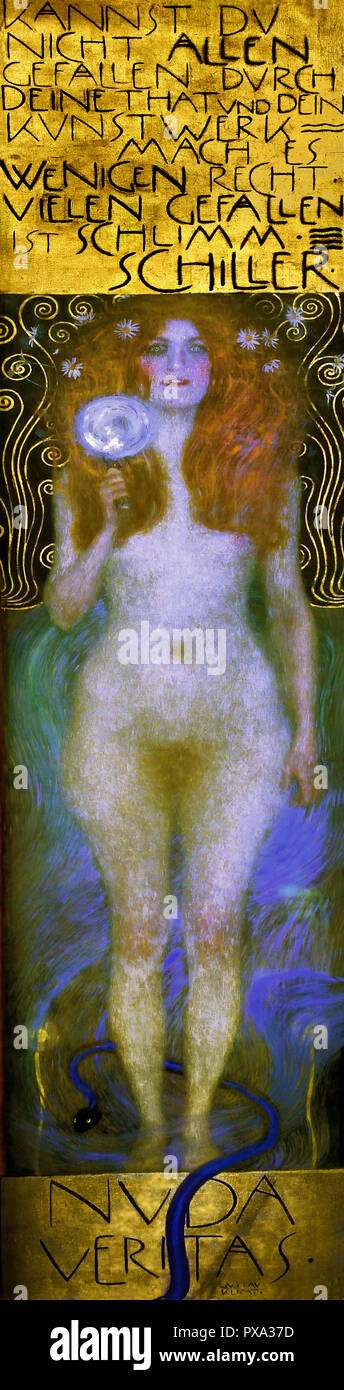 Nuda Veritas 1899 by Gustav Klimt 1862 – 1918 Austrian symbolist painter of the Vienna Secession movement Austria ( The text from the German poet Schiller 'If you cannot please everyone with your actions and your art, you should satisfy a few. To please many is dangerous.' The somewhat aggressive note of this inscription, combined with the mirror that the female figure holds out to the viewer, inviting us to examine ourselves, can perhaps be related to the rebelliousness of the Secession movement.) - Stock Image