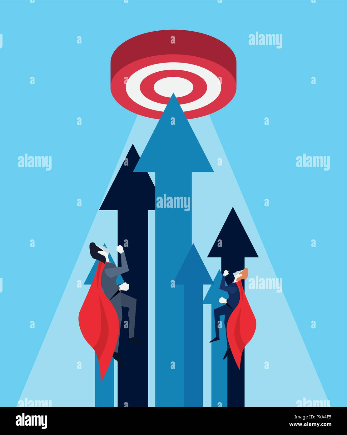 businessmen flying hero target growth arrows vector illustration - Stock Vector