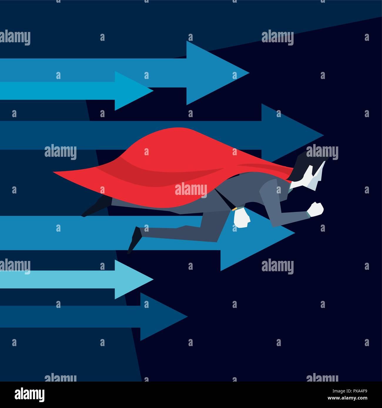 businessman hero flying growth arrows vector illustration - Stock Vector