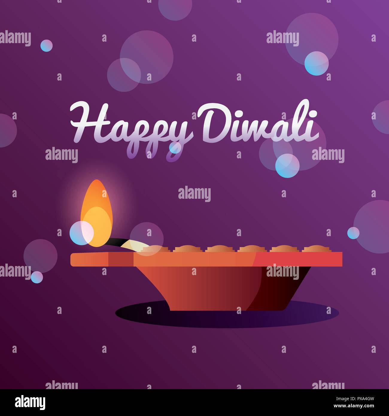 happy diwali burnig light celebration blurred background vector illustration - Stock Vector