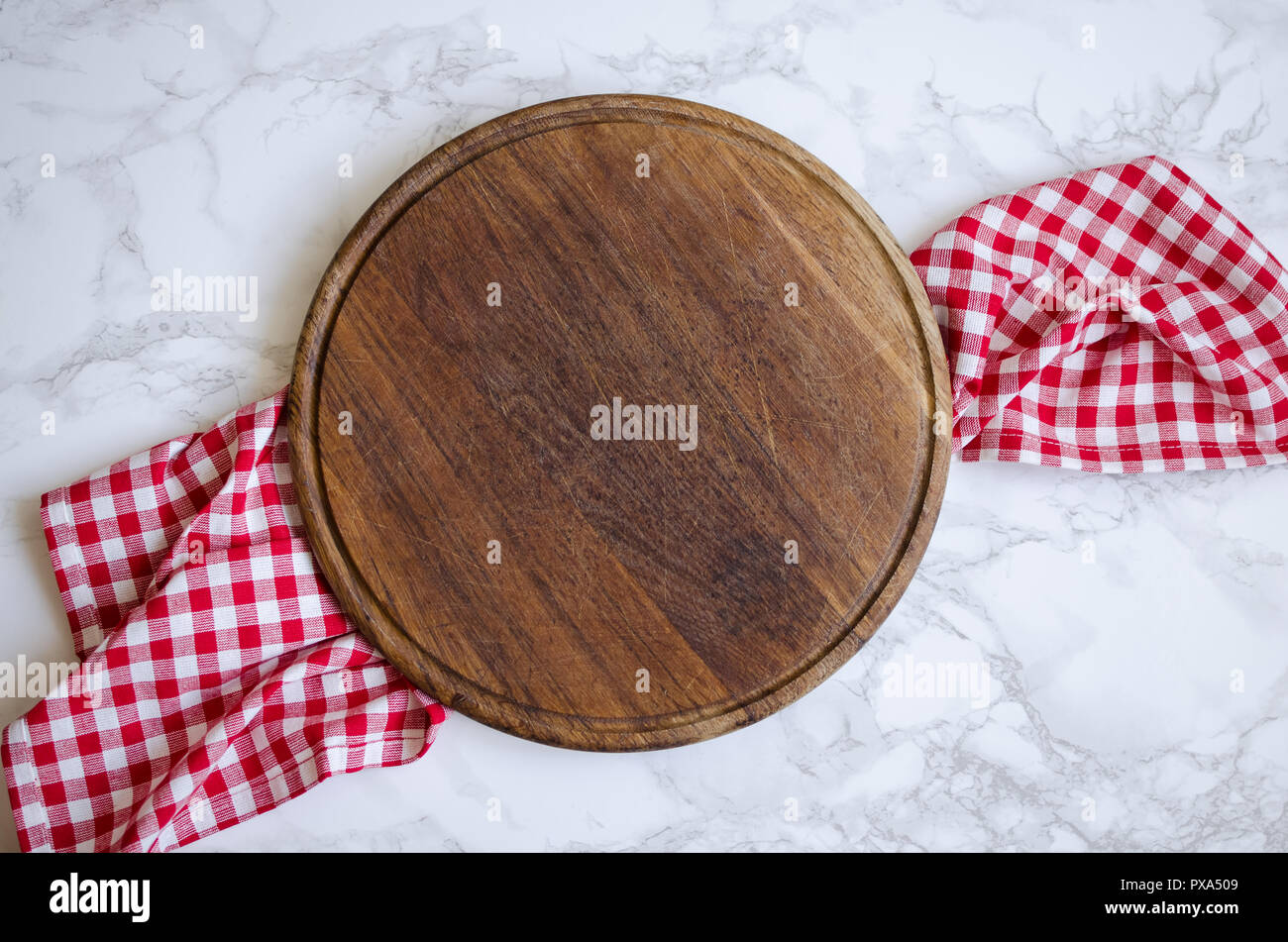 Empty Round Wooden Cutting Board On Red Checkered Napkin On Marble Table With Place For Text Cooking Kitchen Background Top View Copy Space Stock Photo Alamy