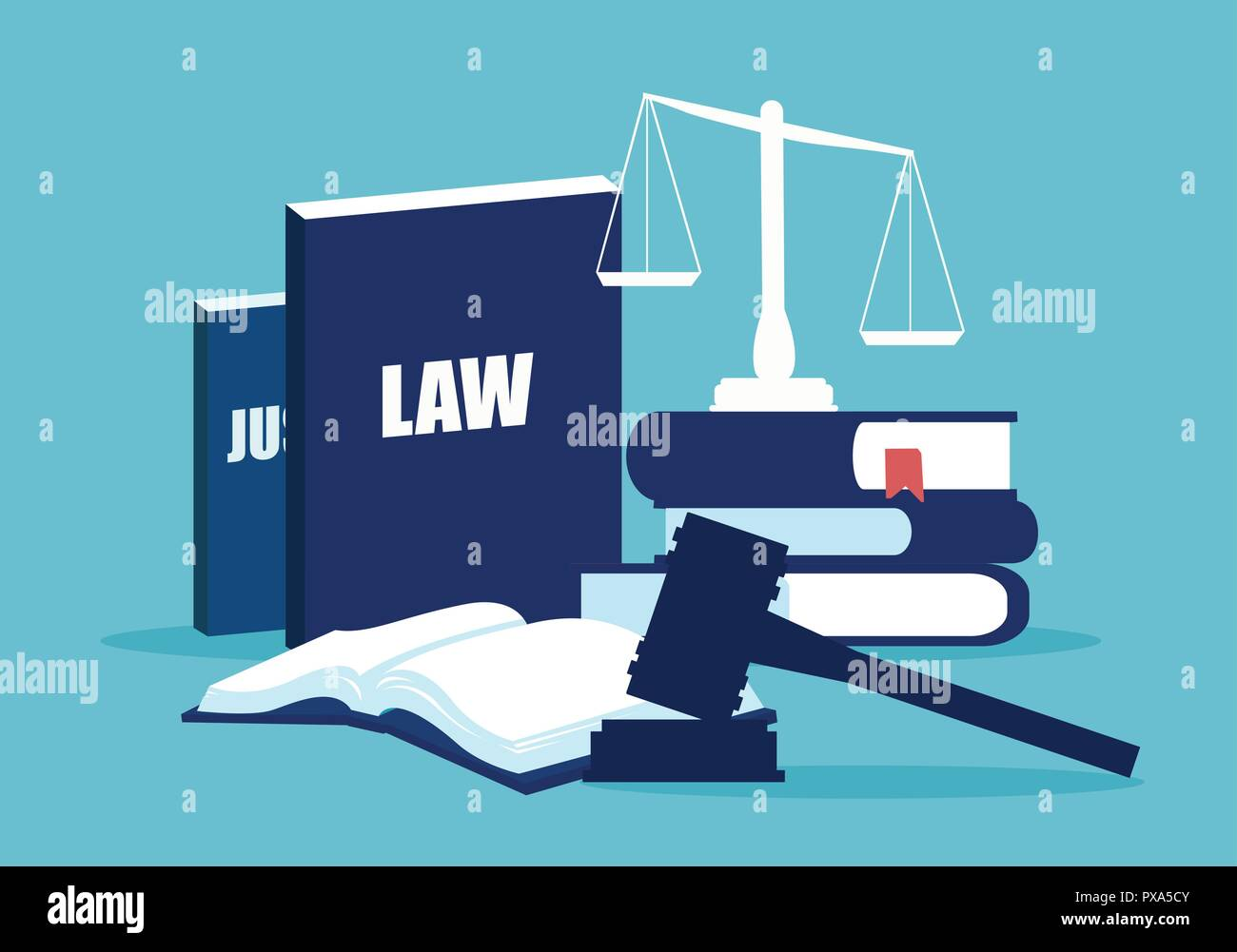 Simple design of legal system elements with books and scales on blue background Stock Vector