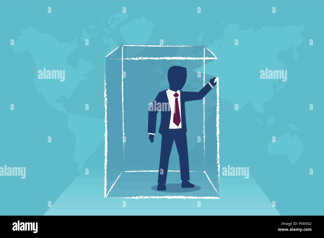 Concept vector illustration of man drawing box around himself creating limits and borders - Stock Image
