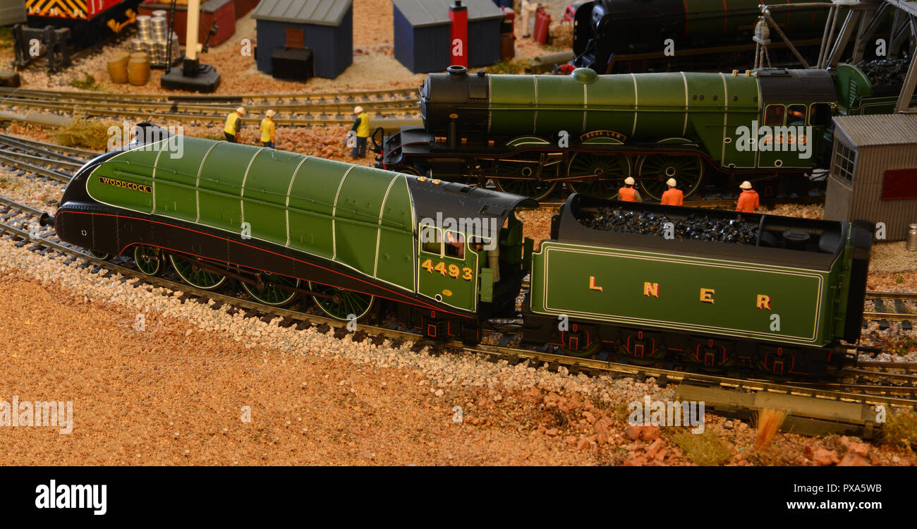 Model of an A4 Gresley Pacific called Woodcock with side skirts in green. - Stock Image