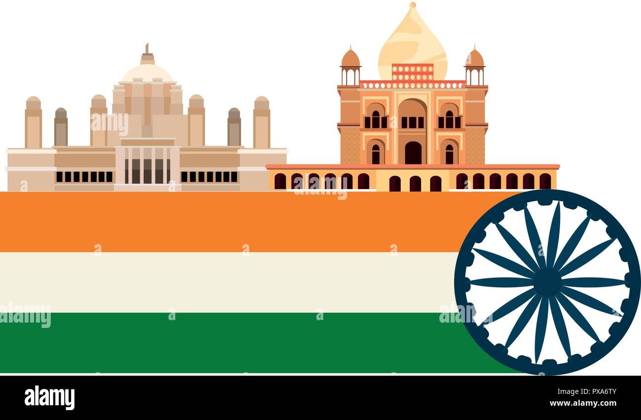 monument flag symbol indian independence day vector illustration - Stock Image