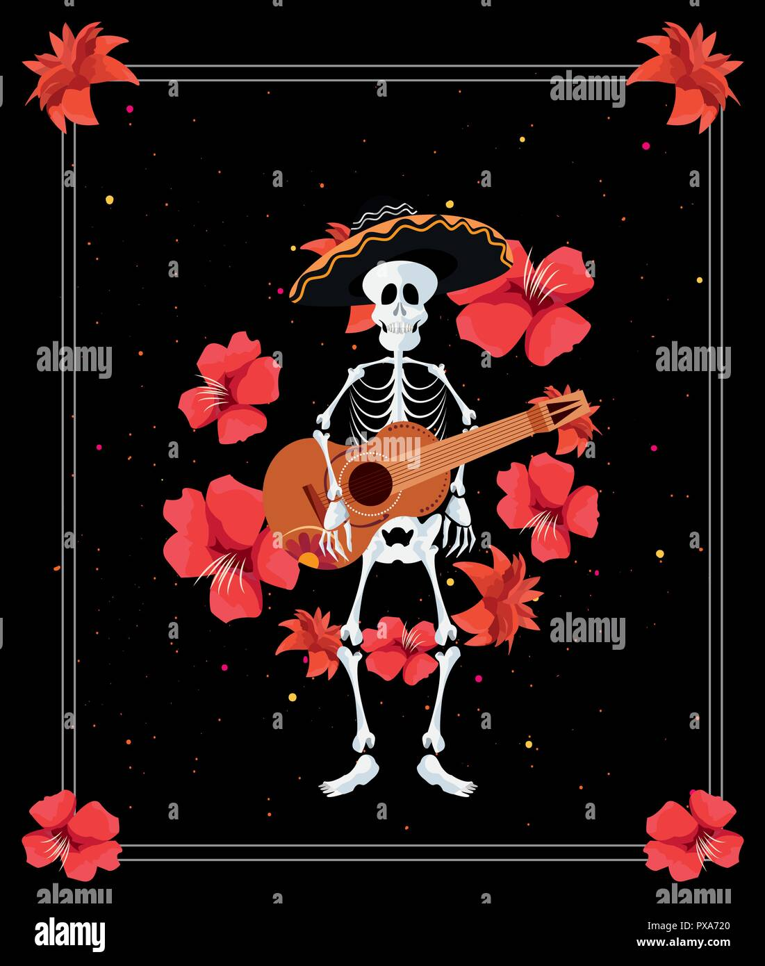 Day Of The Dead Frame Skeleton Play Guitar Music Hat Flowers Vector