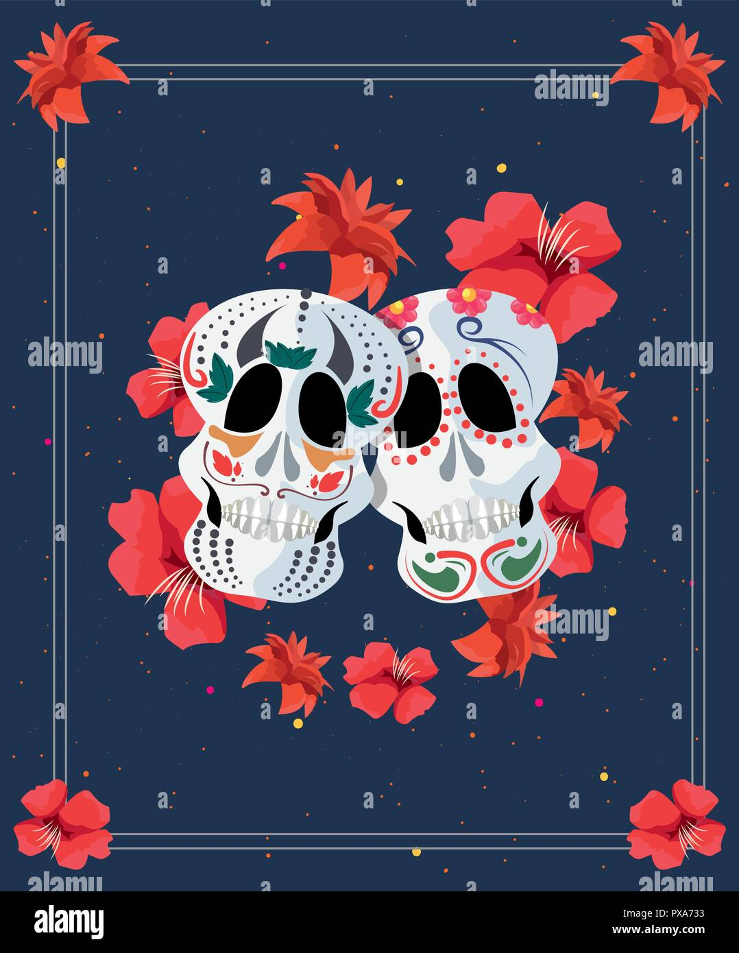 Day Of The Dead Skulls Red Flowers Frame Vector Illustration Stock
