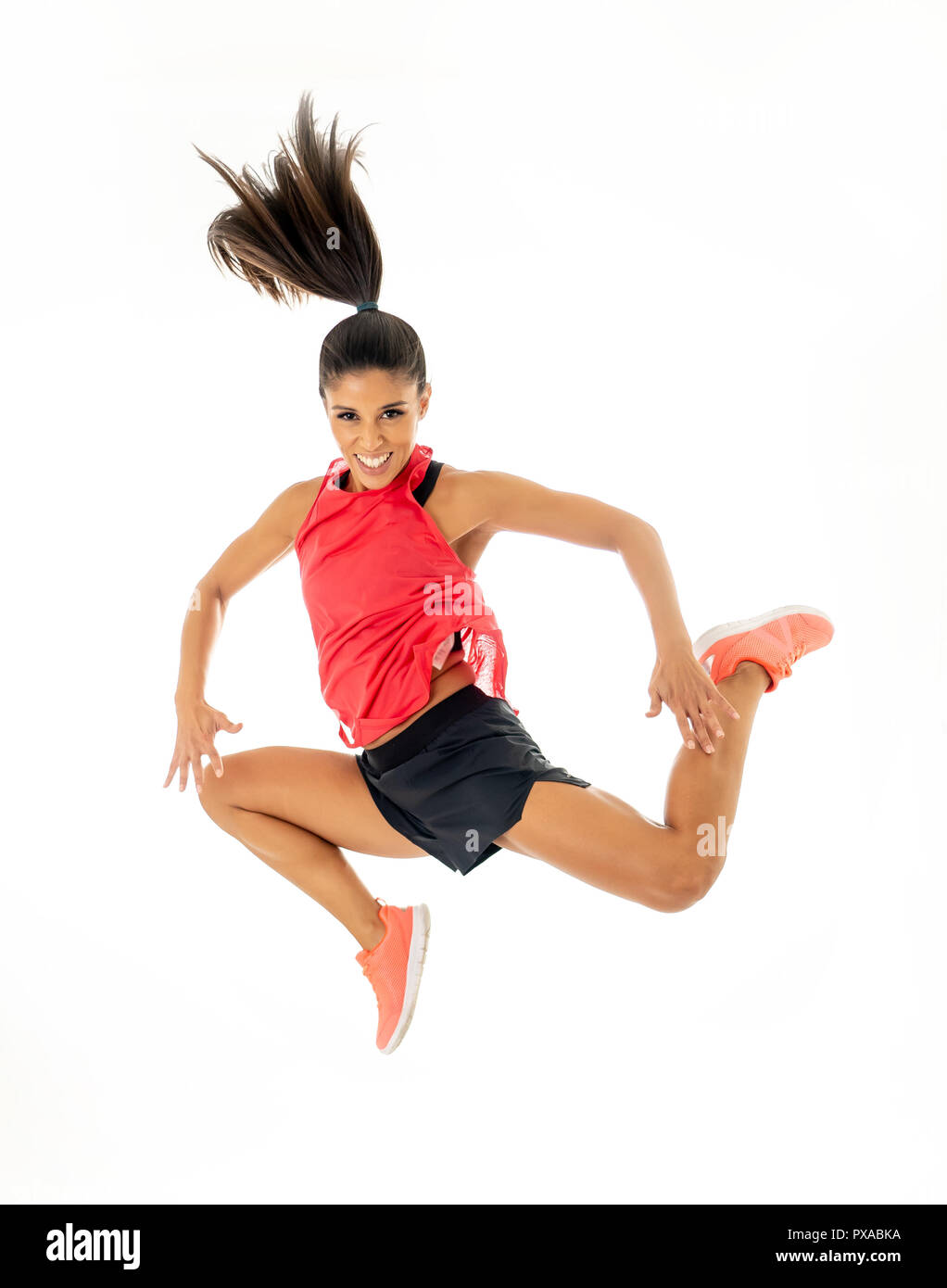 Portrait of full body sport woman jumping isolated on white background in Weight loss Happiness Fitness working out dancing Freedom Power Motion and p - Stock Image