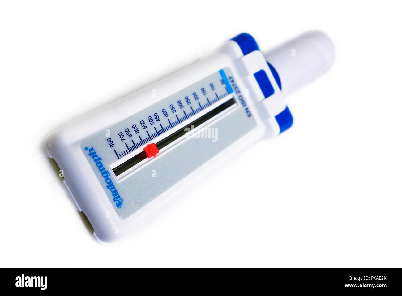 Vitalograph peak flow meter on a white background - Stock Image