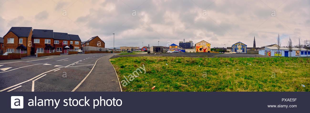 Pro-unionist murals of the shankill road housing estates, Belfast, Northern Ireland, United Kingdom, 2018 - Stock Image