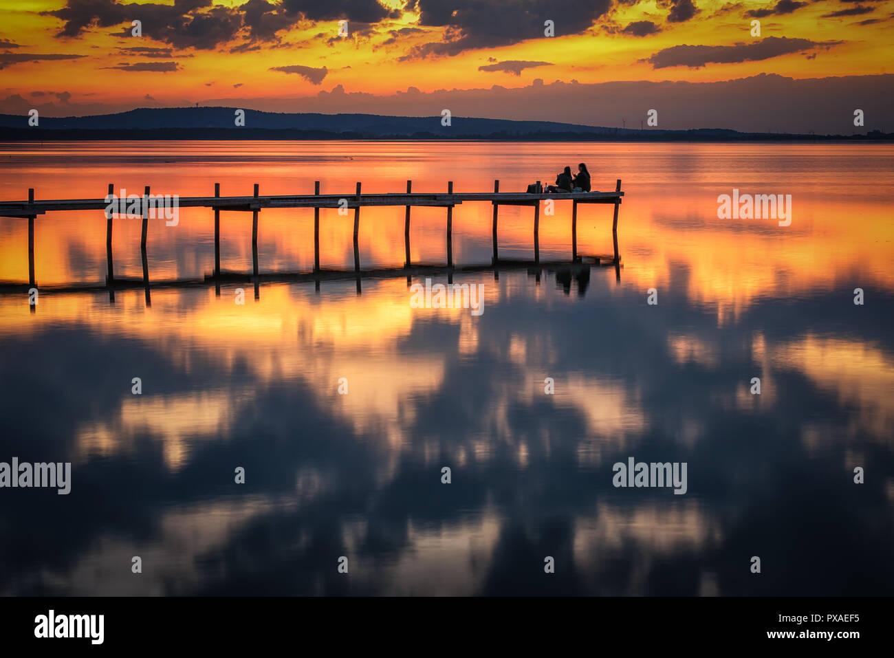 Abendstimmung am Steinhuder Meer - Stock Image