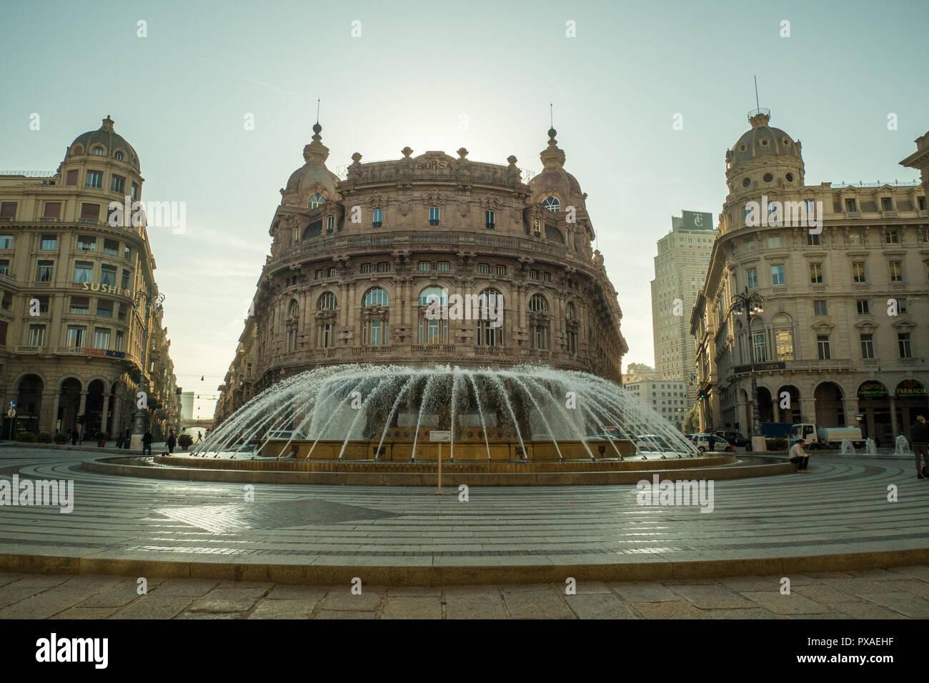 Piazza De Ferrari, Genoa, Liguria, Italy - Stock Image
